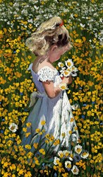 A Posie of Pretty Daisies by Sherree Valentine Daines - Limited Edition Canvas on Board sized 7x12 inches. Available from Whitewall Galleries